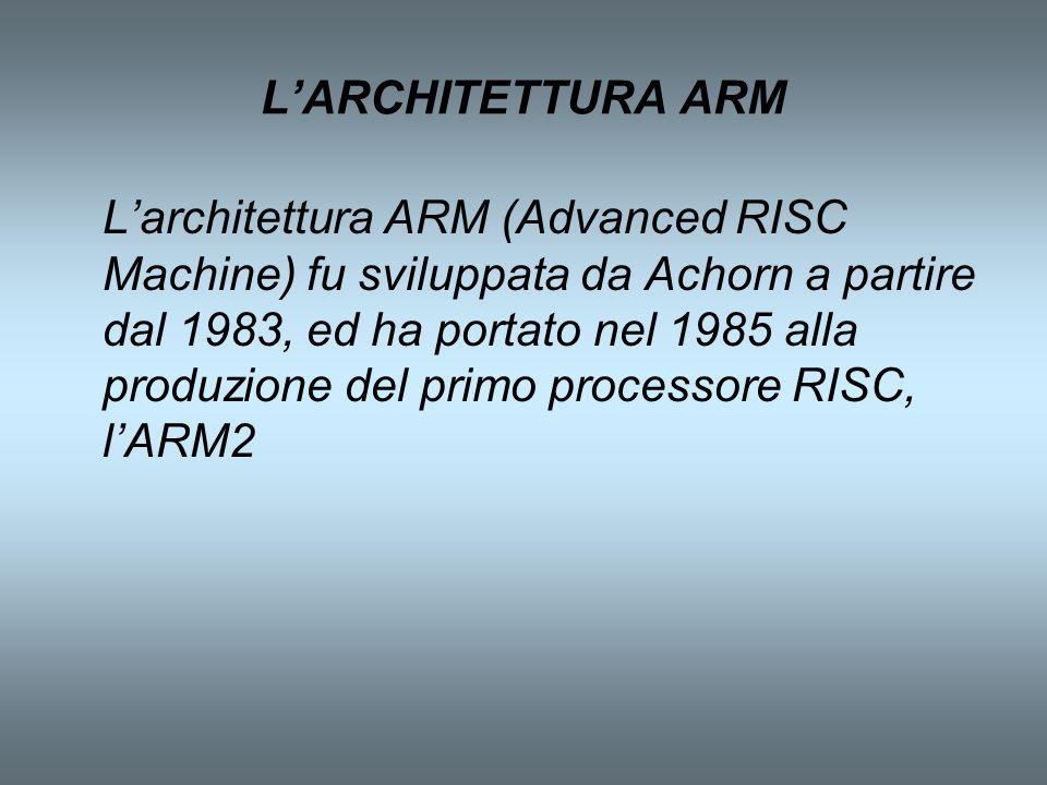 LARCHITETTURA ARM Larchitettura ARM (Advanced RISC Machine) fu sviluppata da Achorn a partire dal 1983, ed ha portato nel 1985 alla produzione del pri