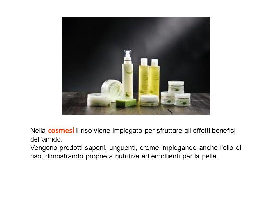 Nella cosmesi il riso viene impiegato per sfruttare gli effetti benefici dellamido. Vengono prodotti saponi, unguenti, creme impiegando anche lolio di