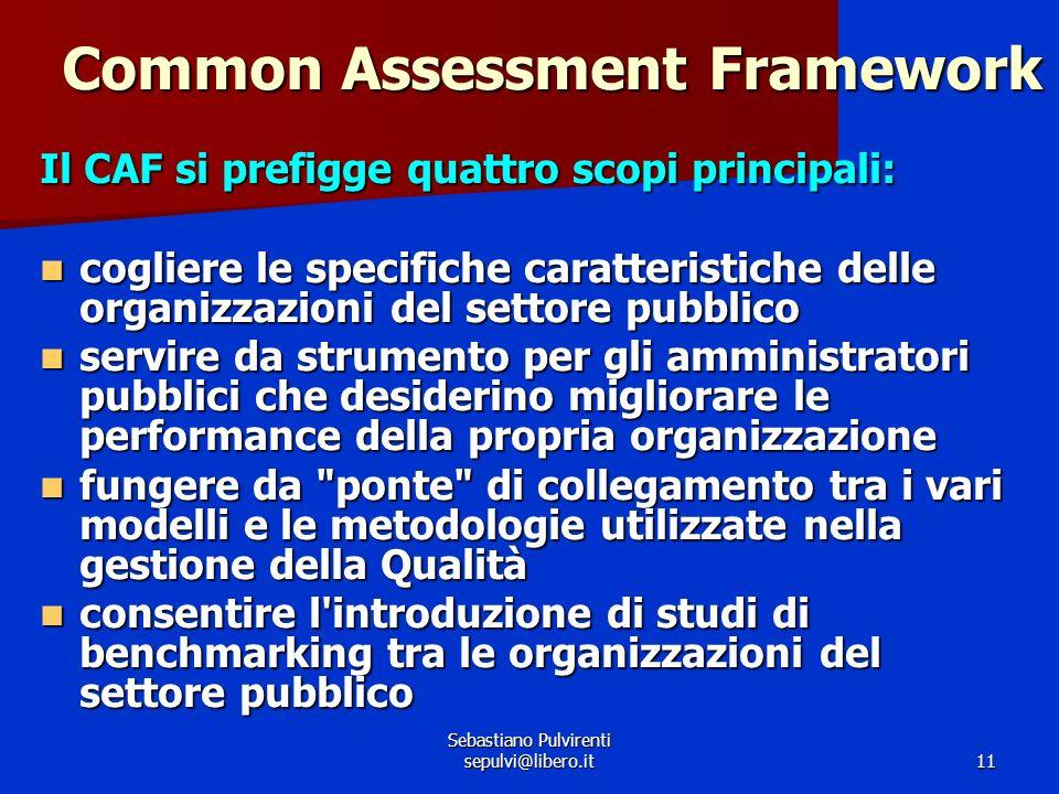 Sebastiano Pulvirenti sepulvi@libero.it11 Common Assessment Framework Il CAF si prefigge quattro scopi principali: cogliere le specifiche caratteristi