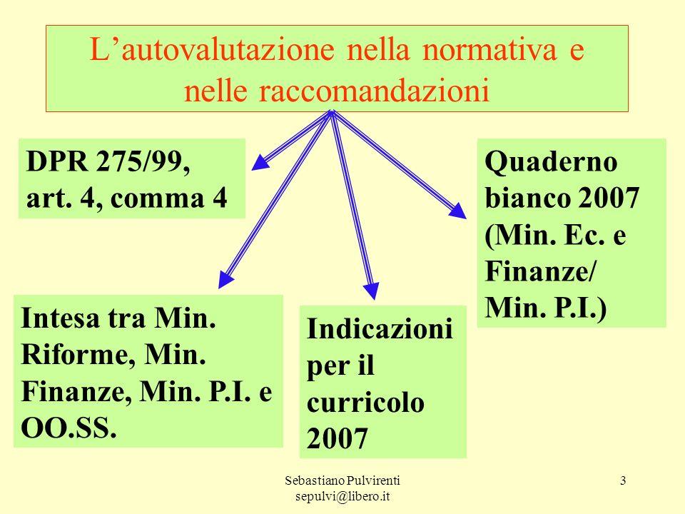 Sebastiano Pulvirenti sepulvi@libero.it 3 Lautovalutazione nella normativa e nelle raccomandazioni DPR 275/99, art. 4, comma 4 Indicazioni per il curr
