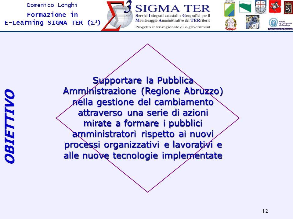 12 Domenico Longhi Formazione in E-Learning SIGMA TER (Σ 3 ) OBIETTIVO Supportare la Pubblica Amministrazione (Regione Abruzzo) nella gestione del cam
