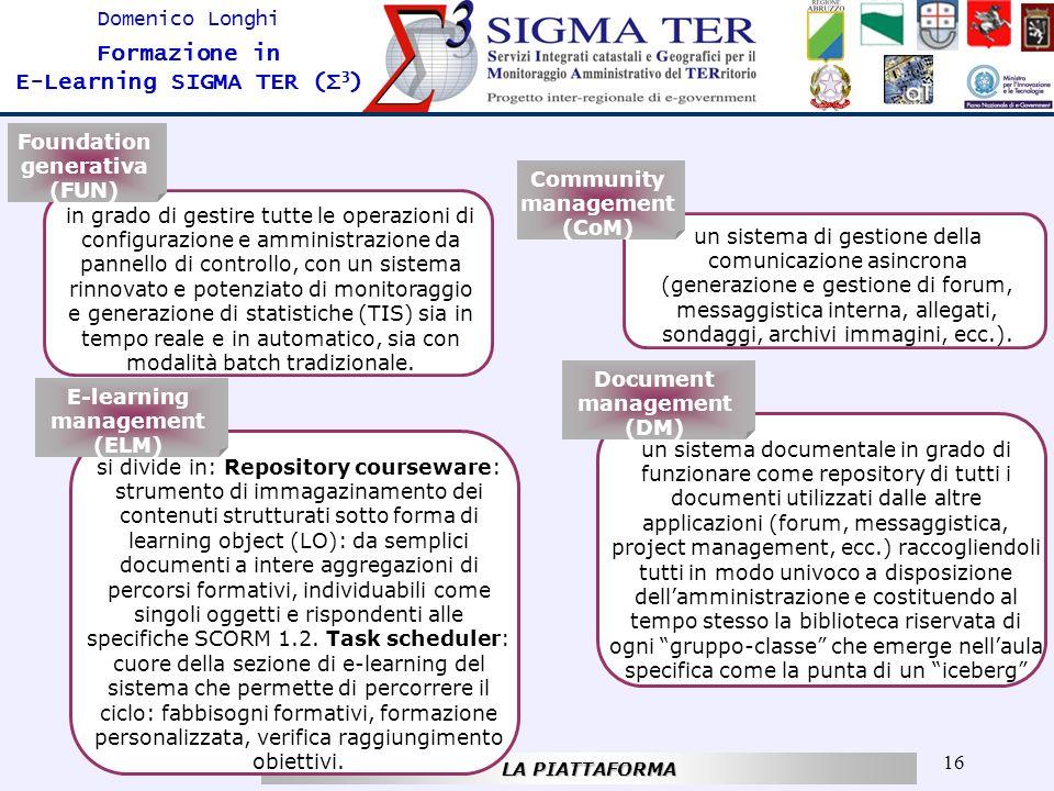 16 Domenico Longhi Formazione in E-Learning SIGMA TER (Σ 3 ) LA PIATTAFORMA in grado di gestire tutte le operazioni di configurazione e amministrazion