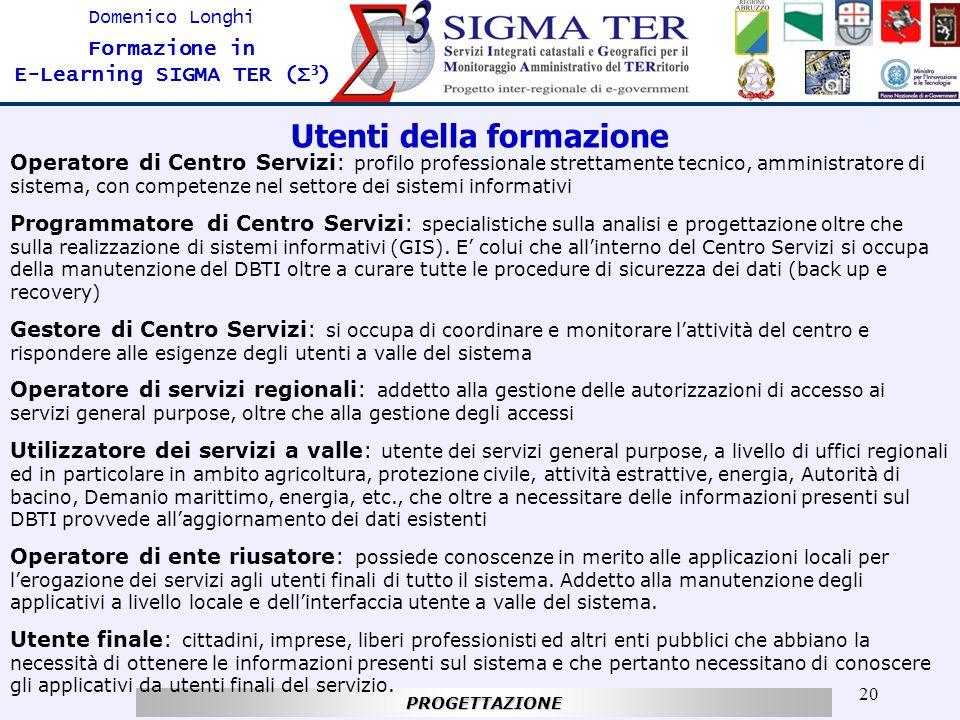 20 Domenico Longhi Formazione in E-Learning SIGMA TER (Σ 3 )PROGETTAZIONE Utenti della formazione Operatore di Centro Servizi: profilo professionale s