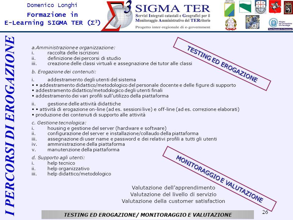 26 Domenico Longhi Formazione in E-Learning SIGMA TER (Σ 3 ) TESTING ED EROGAZIONE/ MONITORAGGIO E VALUTAZIONE a.Amministrazione e organizzazione: i.r