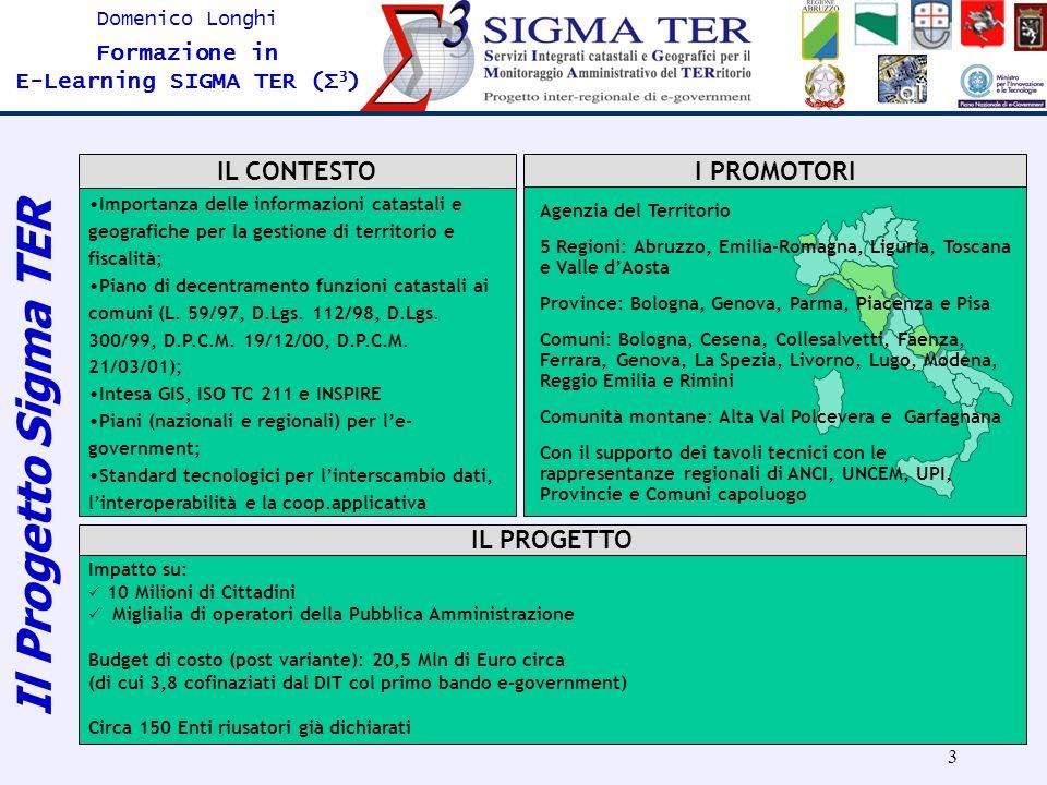 14 Domenico Longhi Formazione in E-Learning SIGMA TER (Σ 3 ) Pegasus LMS ® 2005 Soluzione integrata capace di incapsulare al suo interno le potenzialità di tre diverse piattaforme (L.M.S., streaming, e web conference) fornito da Engineering S.p.A PROGETTAZIONE LA PIATTAFORMA