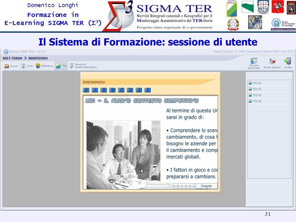 31 Domenico Longhi Formazione in E-Learning SIGMA TER (Σ 3 ) Il Sistema di Formazione: sessione di utente