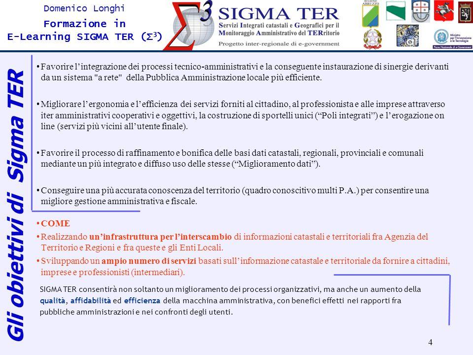 4 Domenico Longhi Formazione in E-Learning SIGMA TER (Σ 3 ) Favorire lintegrazione dei processi tecnico-amministrativi e la conseguente instaurazione