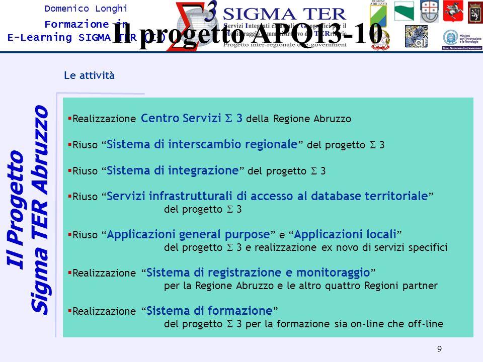 9 Domenico Longhi Formazione in E-Learning SIGMA TER (Σ 3 ) Il progetto APQ13-10 Le attività Realizzazione Centro Servizi 3 della Regione Abruzzo Rius