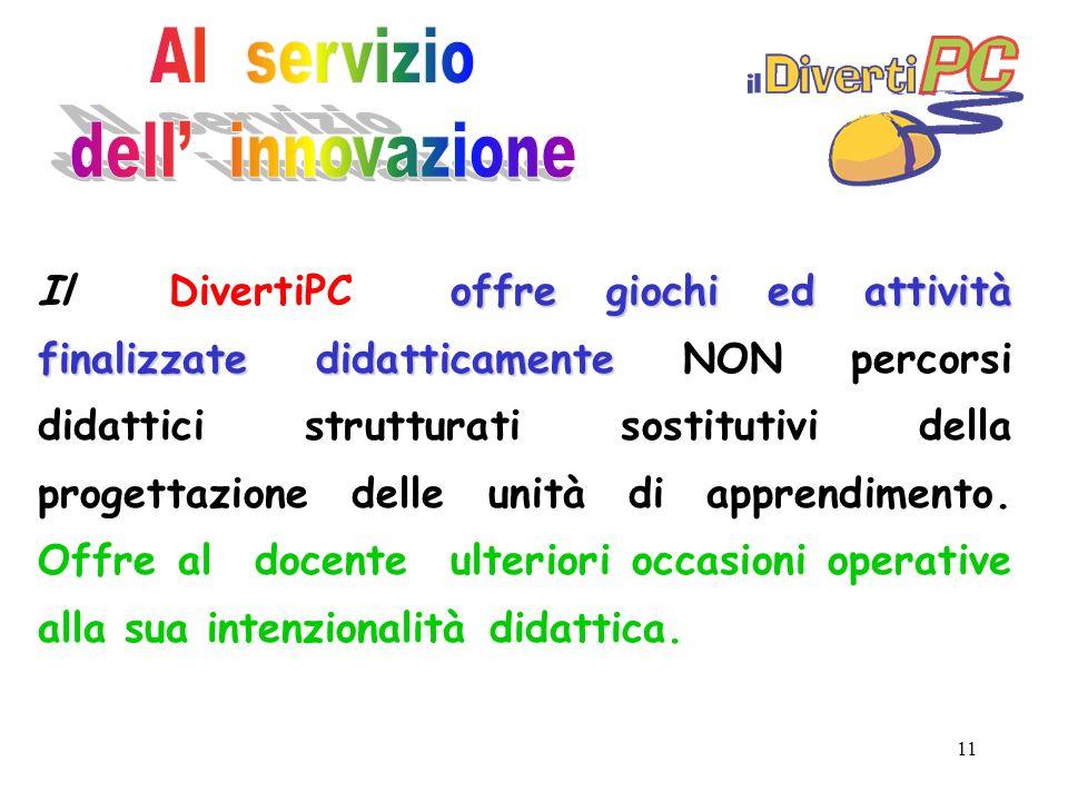 11 offre giochi ed attività finalizzate didatticamente Il DivertiPC offre giochi ed attività finalizzate didatticamente NON percorsi didattici strutturati sostitutivi della progettazione delle unità di apprendimento.