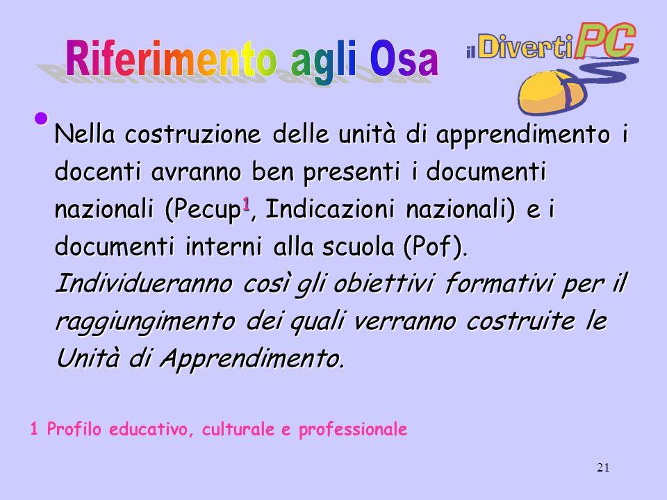 21 Nella costruzione delle unità di apprendimento i docenti avranno ben presenti i documenti nazionali (Pecup 1, Indicazioni nazionali) e i documenti interni alla scuola (Pof).