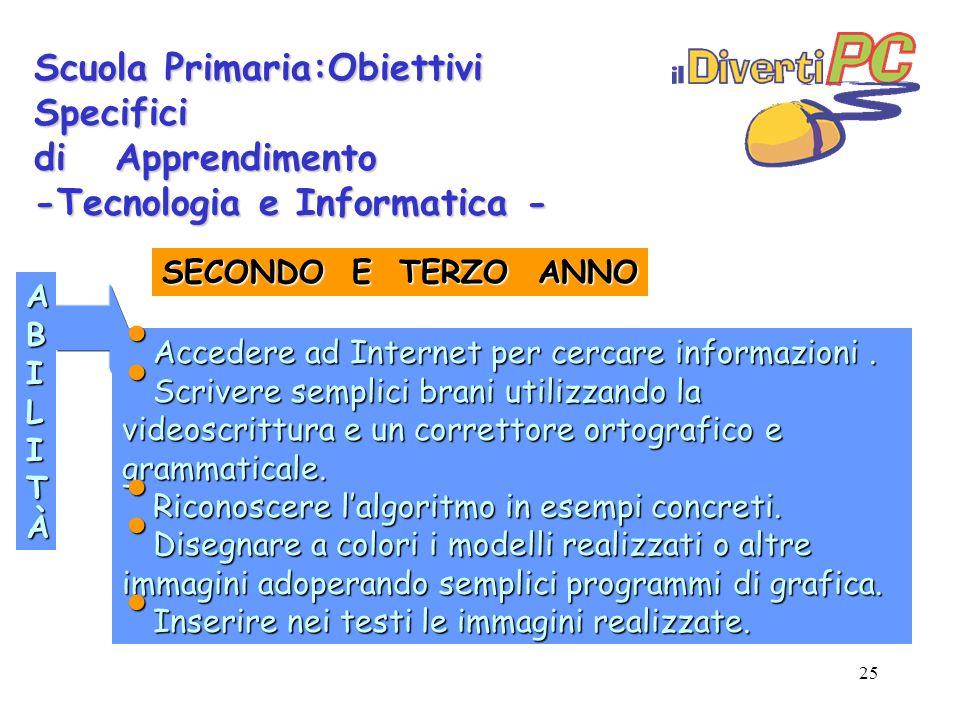 25 Scuola Primaria:Obiettivi Specifici di Apprendimento -Tecnologia e Informatica - ABILITÀABILITÀABILITÀABILITÀ Accedere ad Internet per cercare informazioni.