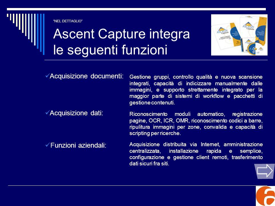 NEL DETTAGLIO Ascent Capture integra le seguenti funzioni Personalizzazione: E possibile aggiungere nuovi moduli attraverso la nuova XML Backbone di Ascent Capture 6.