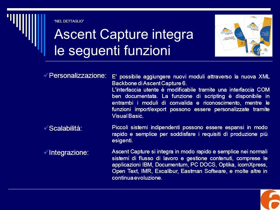 NEL DETTAGLIO Ascent Capture integra le seguenti funzioni Personalizzazione: E' possibile aggiungere nuovi moduli attraverso la nuova XML Backbone di