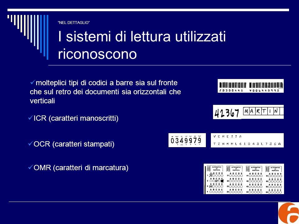 NEL DETTAGLIO I sistemi di lettura utilizzati riconoscono molteplici tipi di codici a barre sia sul fronte che sul retro dei documenti sia orizzontali