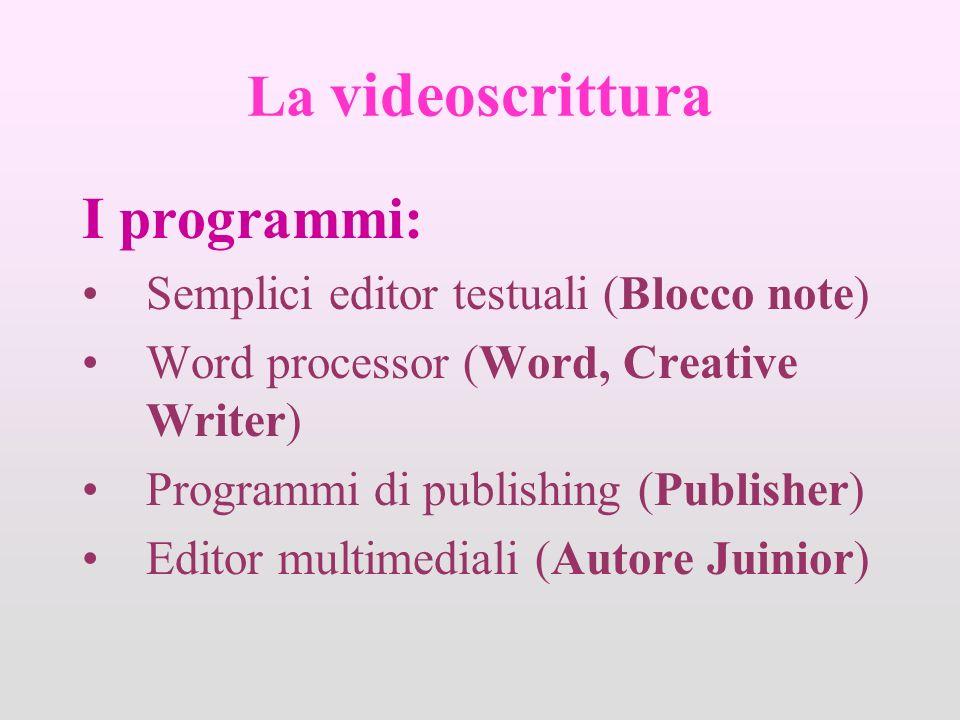 La videoscrittura I programmi: Semplici editor testuali (Blocco note) Word processor (Word, Creative Writer) Programmi di publishing (Publisher) Editor multimediali (Autore Juinior)