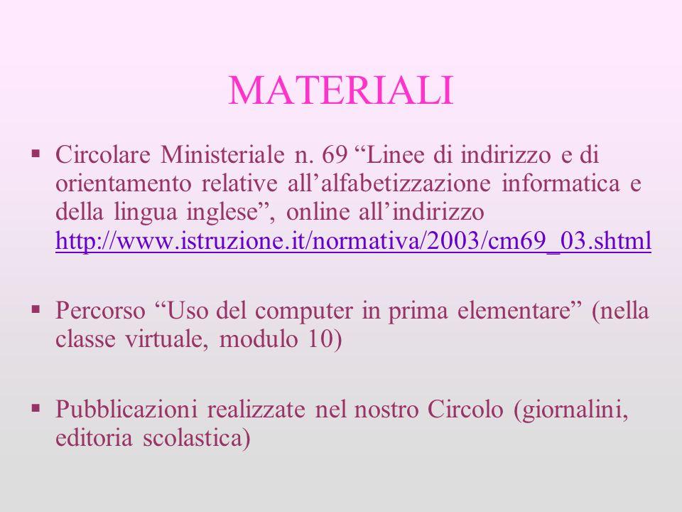 MATERIALI Circolare Ministeriale n. 69 Linee di indirizzo e di orientamento relative allalfabetizzazione informatica e della lingua inglese, online al