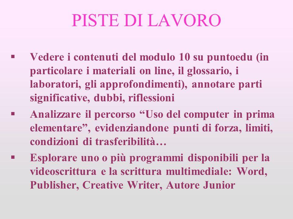 PISTE DI LAVORO Vedere i contenuti del modulo 10 su puntoedu (in particolare i materiali on line, il glossario, i laboratori, gli approfondimenti), an