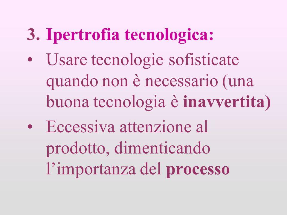 3.Ipertrofia tecnologica: Usare tecnologie sofisticate quando non è necessario (una buona tecnologia è inavvertita) Eccessiva attenzione al prodotto, dimenticando limportanza del processo