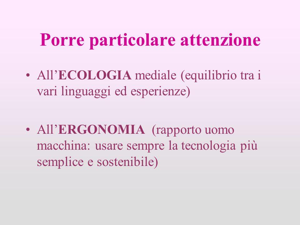 Porre particolare attenzione AllECOLOGIA mediale (equilibrio tra i vari linguaggi ed esperienze) AllERGONOMIA (rapporto uomo macchina: usare sempre la