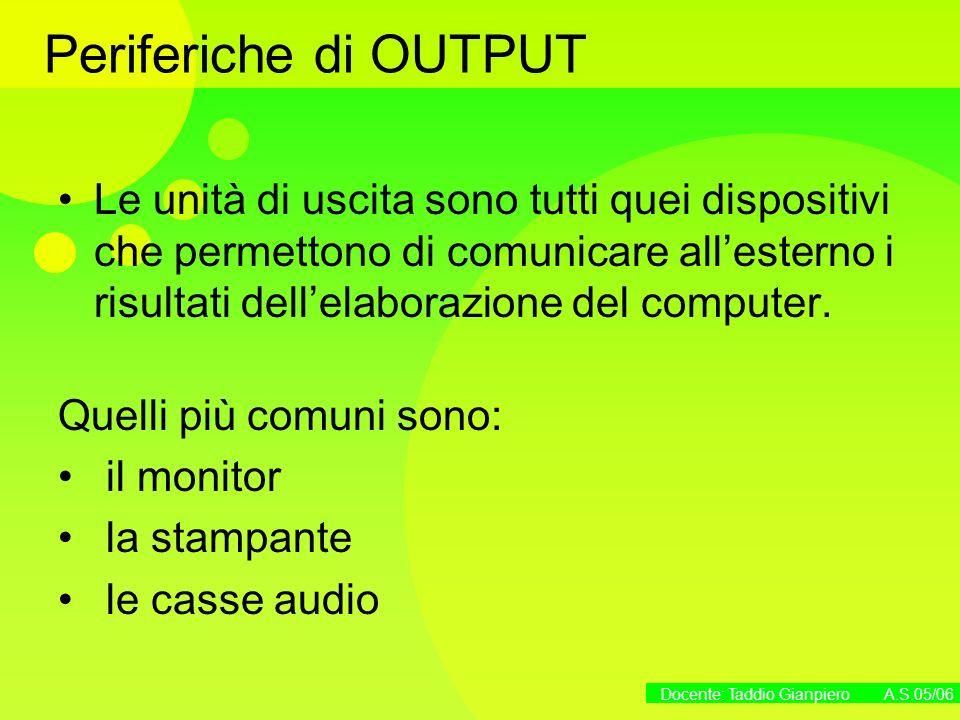 Docente: Taddio Gianpiero A.S.05/06 Periferiche di OUTPUT Le unità di uscita sono tutti quei dispositivi che permettono di comunicare allesterno i ris