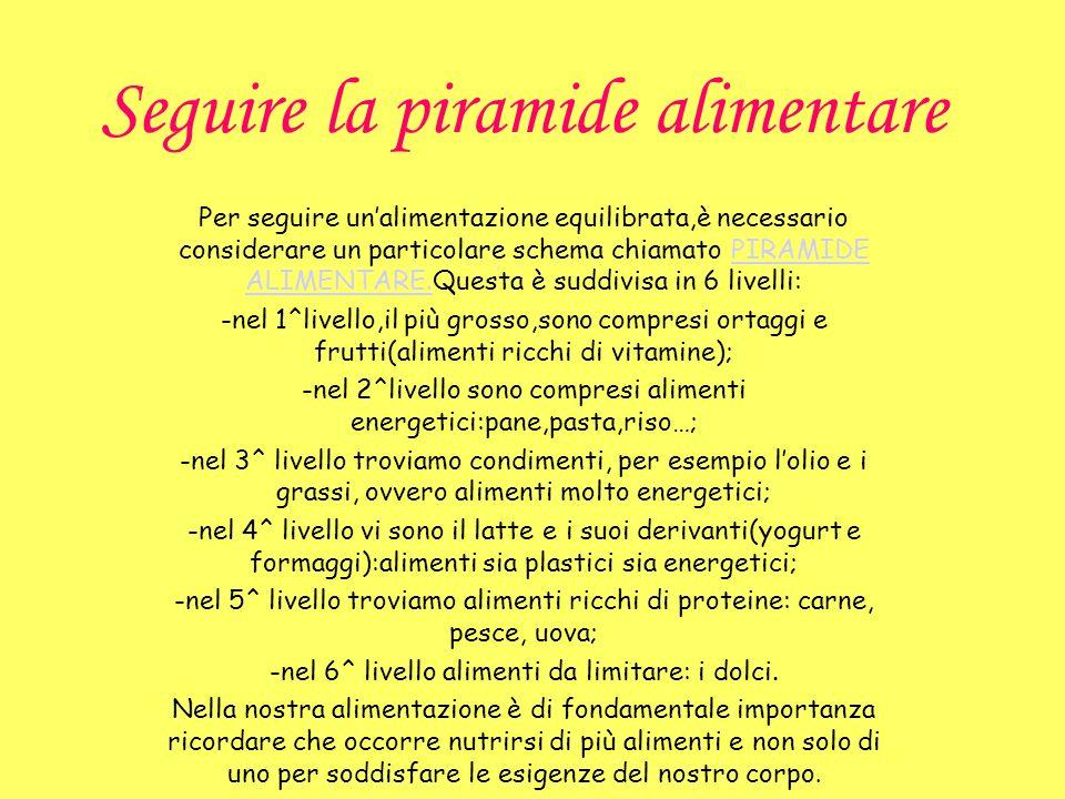 Seguire la piramide alimentare Per seguire unalimentazione equilibrata,è necessario considerare un particolare schema chiamato PIRAMIDE ALIMENTARE.Que