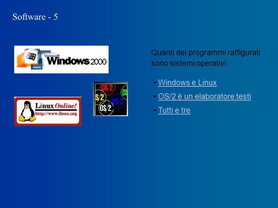 Software - 5 Quanti dei programmi raffigurati sono sistemi operativi: Windows e Linux OS/2 è un elaboratore testi Tutti e tre