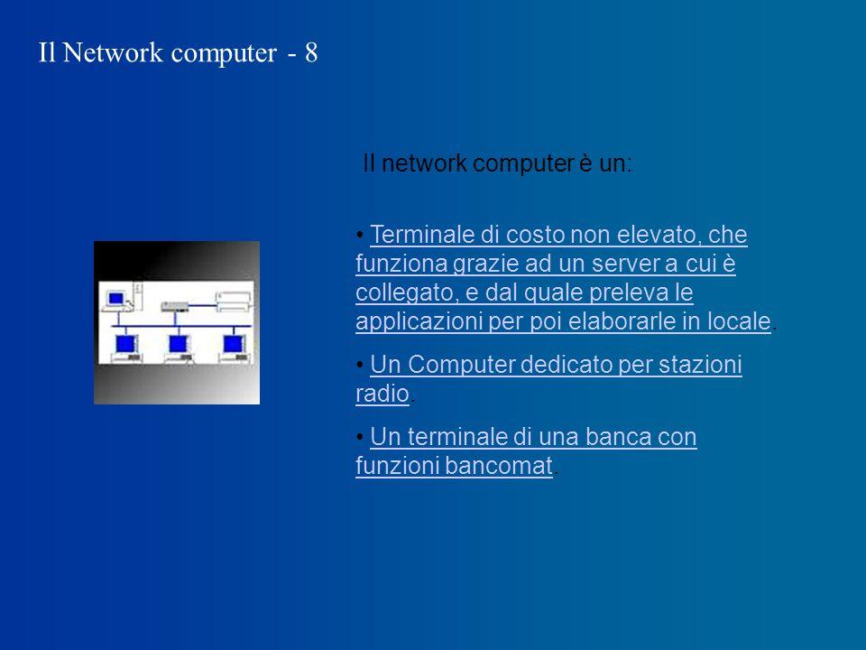 Il Network computer - 8 Il network computer è un: Terminale di costo non elevato, che funziona grazie ad un server a cui è collegato, e dal quale preleva le applicazioni per poi elaborarle in locale.Terminale di costo non elevato, che funziona grazie ad un server a cui è collegato, e dal quale preleva le applicazioni per poi elaborarle in locale Un Computer dedicato per stazioni radio.Un Computer dedicato per stazioni radio Un terminale di una banca con funzioni bancomat.Un terminale di una banca con funzioni bancomat