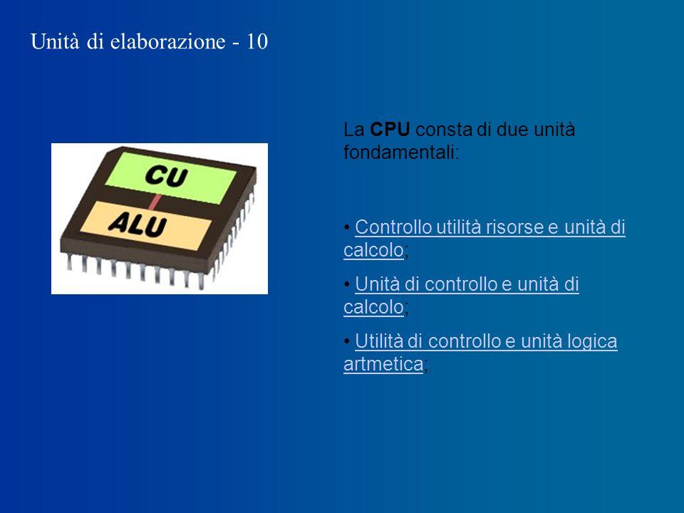 Unità di elaborazione - 10 La CPU consta di due unità fondamentali: Controllo utilità risorse e unità di calcolo;Controllo utilità risorse e unità di calcolo Unità di controllo e unità di calcolo;Unità di controllo e unità di calcolo Utilità di controllo e unità logica artmetica;Utilità di controllo e unità logica artmetica