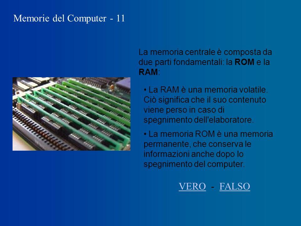 Memorie del Computer - 11 La RAM è una memoria volatile.