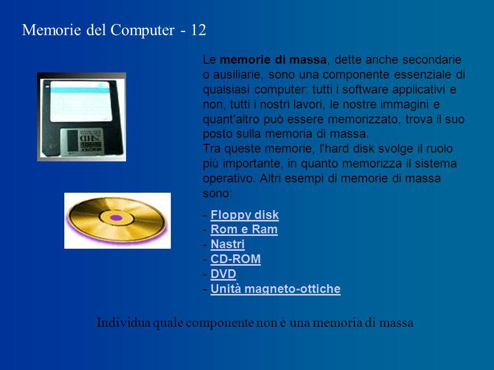 Memorie del Computer - 12 Le memorie di massa, dette anche secondarie o ausiliarie, sono una componente essenziale di qualsiasi computer: tutti i software applicativi e non, tutti i nostri lavori, le nostre immagini e quant altro può essere memorizzato, trova il suo posto sulla memoria di massa.