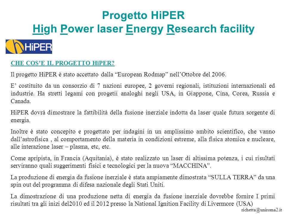 Progetto HiPER High Power laser Energy Research facility CHE COSE IL PROGETTO HiPER.