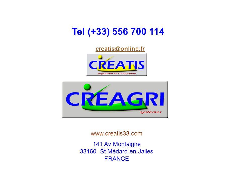 141 Av Montaigne 33160 St Médard en Jalles FRANCE Tel (+33) 556 700 114 creatis@online.fr www.creatis33.com