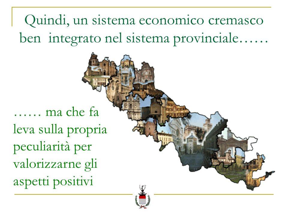 Quindi, un sistema economico cremasco ben integrato nel sistema provinciale…… …… ma che fa leva sulla propria peculiarità per valorizzarne gli aspetti positivi