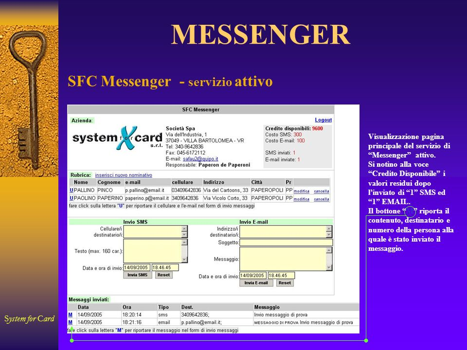 System for Card MESSENGER Visualizzazione pagina principale del servizio di Messenger attivo. Si notino alla voce Credito Disponibile i valori residui