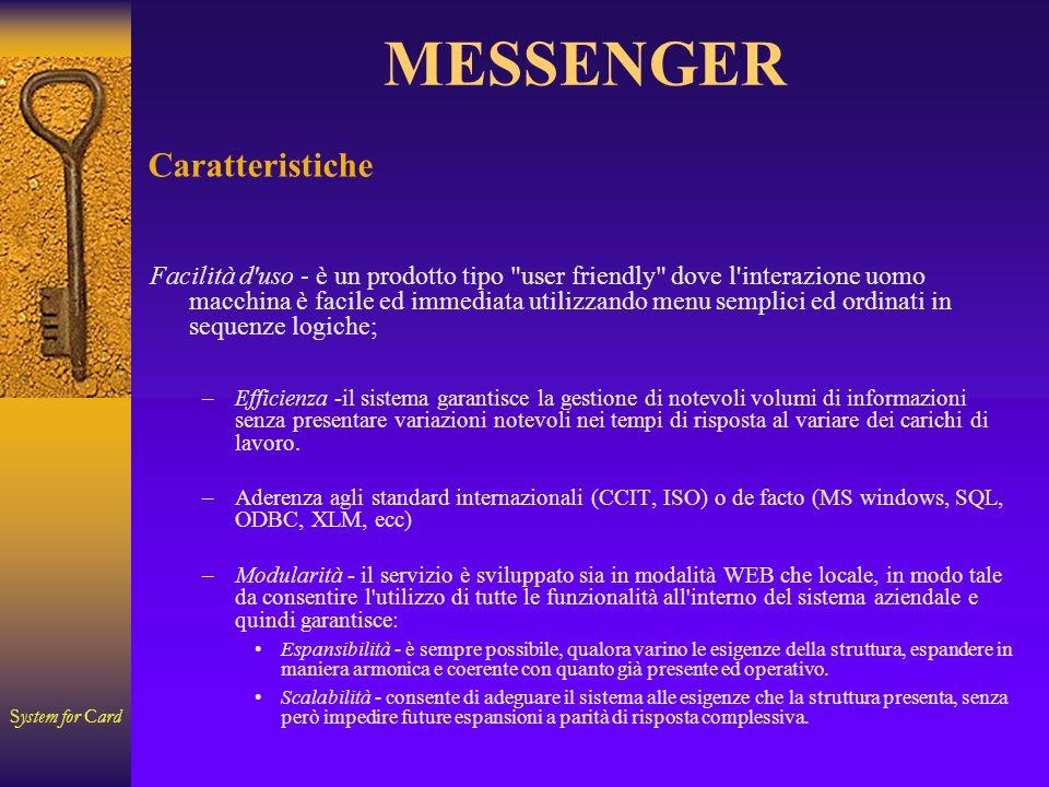 System for Card MESSENGER Caratteristiche Facilità d'uso - è un prodotto tipo