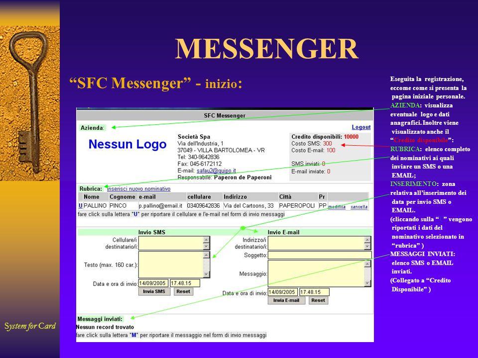 System for Card MESSENGER Eseguita la registrazione, eccome come si presenta la pagina iniziale personale. AZIENDA: visualizza eventuale logo e dati a