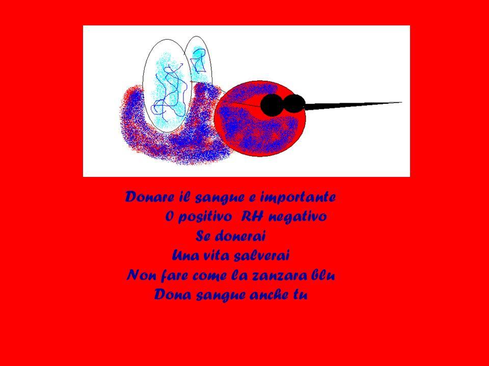 Donare il sangue e importante 0 positivo RH negativo Se donerai Una vita salverai Non fare come la zanzara blu Dona sangue anche tu