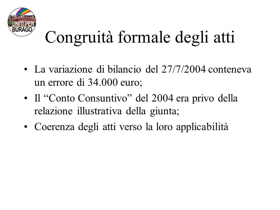 Congruità formale degli atti La variazione di bilancio del 27/7/2004 conteneva un errore di 34.000 euro; Il Conto Consuntivo del 2004 era privo della relazione illustrativa della giunta; Coerenza degli atti verso la loro applicabilità