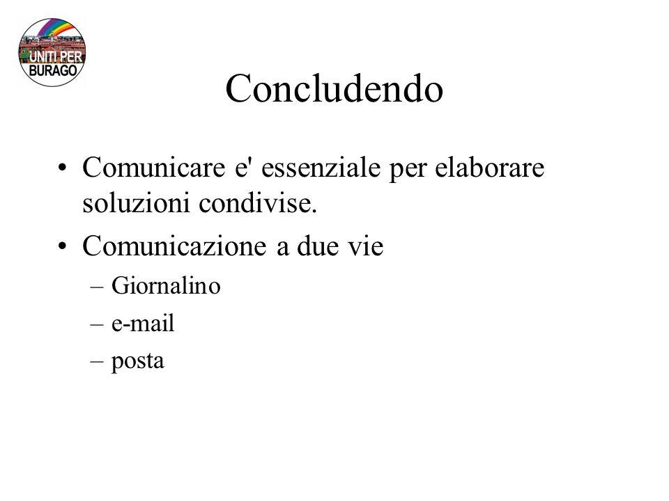 Concludendo Comunicare e essenziale per elaborare soluzioni condivise.