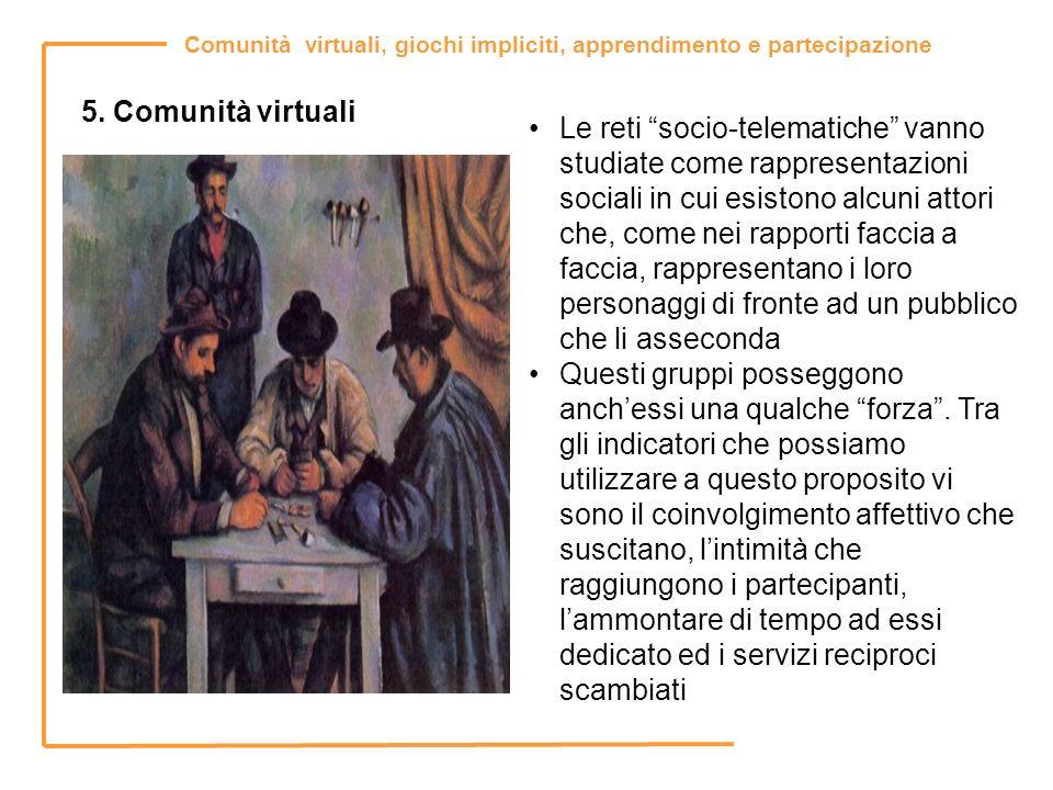 Comunità virtuali, giochi impliciti, apprendimento e partecipazione 5. Comunità virtuali Le reti socio-telematiche vanno studiate come rappresentazion