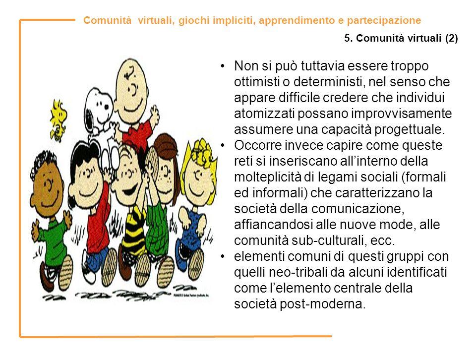 Comunità virtuali, giochi impliciti, apprendimento e partecipazione 5. Comunità virtuali (2) Non si può tuttavia essere troppo ottimisti o determinist