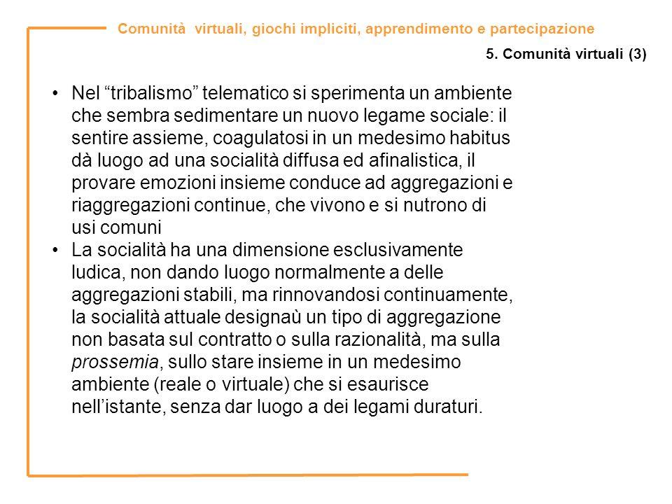 Comunità virtuali, giochi impliciti, apprendimento e partecipazione 5. Comunità virtuali (3) Nel tribalismo telematico si sperimenta un ambiente che s