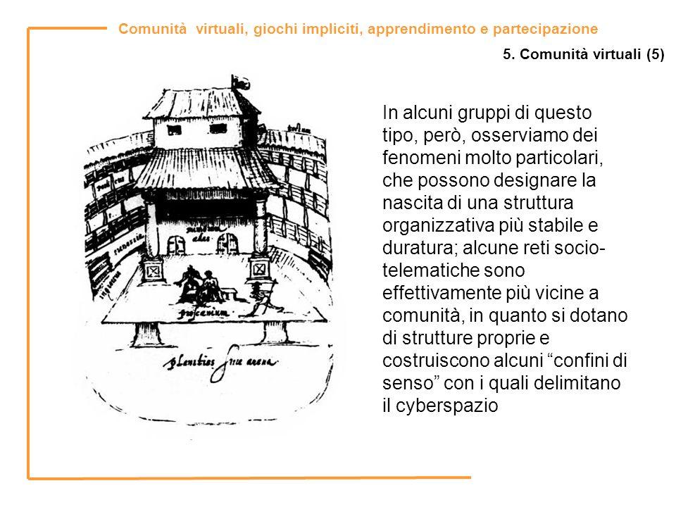 Comunità virtuali, giochi impliciti, apprendimento e partecipazione 5. Comunità virtuali (5) In alcuni gruppi di questo tipo, però, osserviamo dei fen