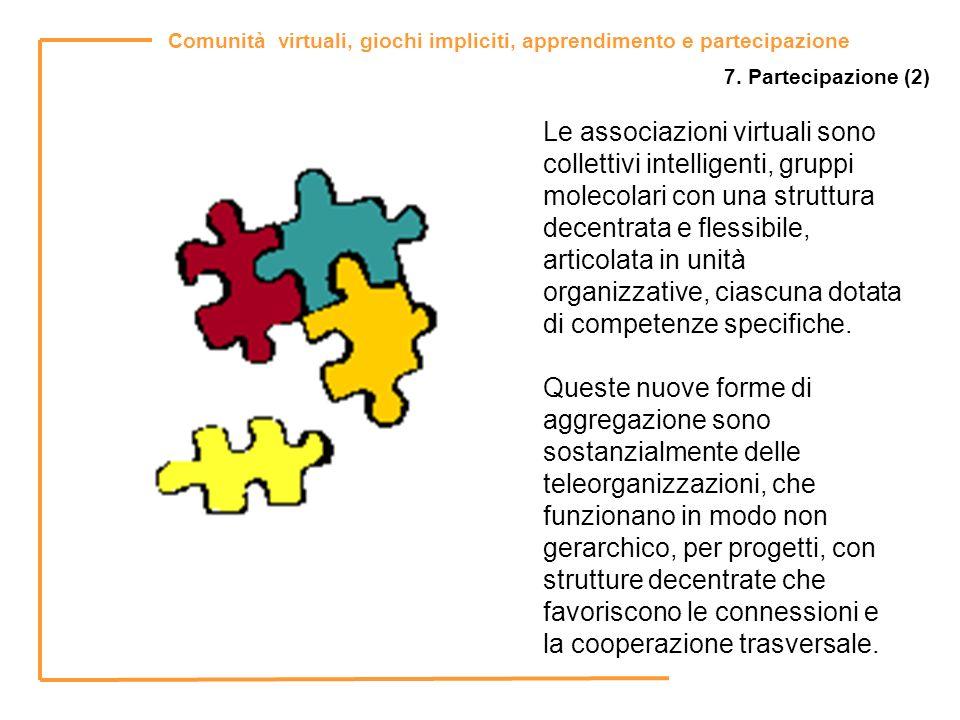 Comunità virtuali, giochi impliciti, apprendimento e partecipazione 7. Partecipazione (2) Le associazioni virtuali sono collettivi intelligenti, grupp