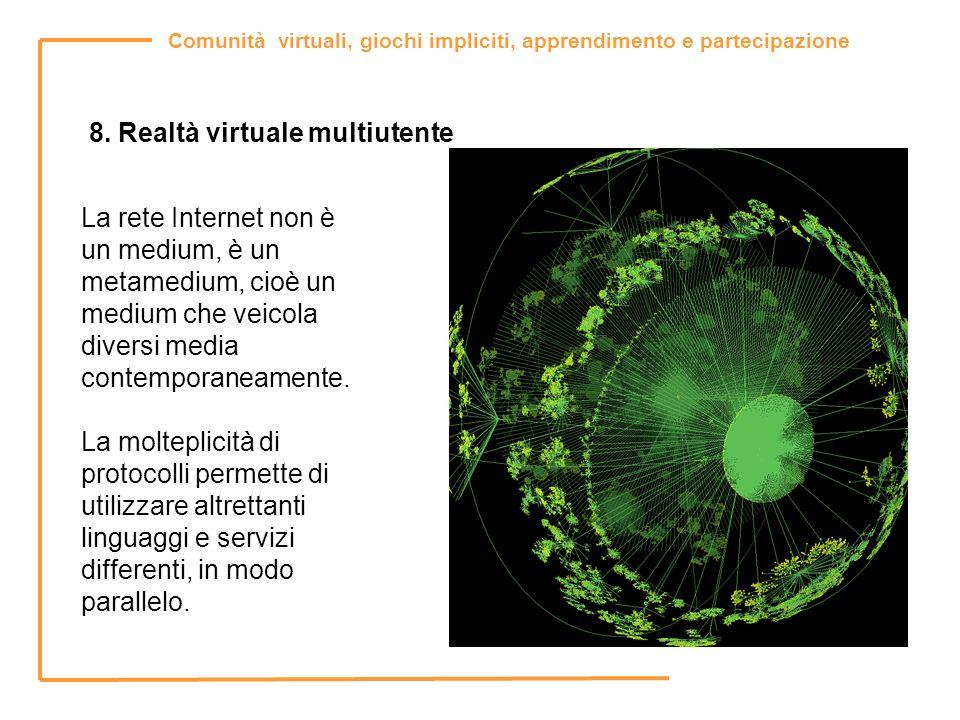 Comunità virtuali, giochi impliciti, apprendimento e partecipazione 8. Realtà virtuale multiutente La rete Internet non è un medium, è un metamedium,