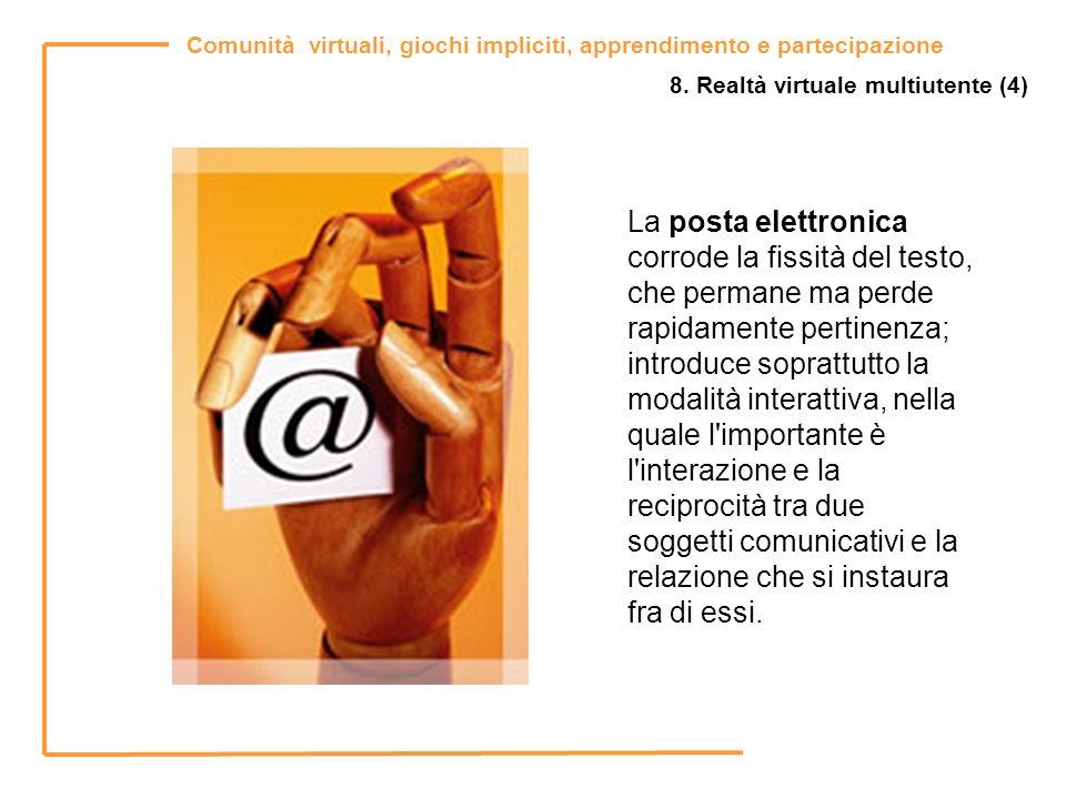 Comunità virtuali, giochi impliciti, apprendimento e partecipazione 8. Realtà virtuale multiutente (4) La posta elettronica corrode la fissità del tes