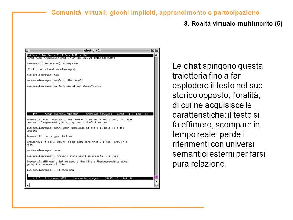 Comunità virtuali, giochi impliciti, apprendimento e partecipazione 8. Realtà virtuale multiutente (5) Le chat spingono questa traiettoria fino a far