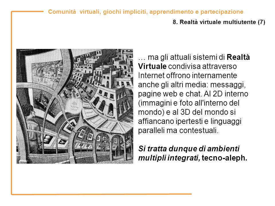 Comunità virtuali, giochi impliciti, apprendimento e partecipazione 8. Realtà virtuale multiutente (7) … ma gli attuali sistemi di Realtà Virtuale con