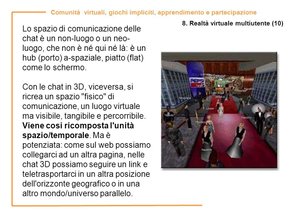 Comunità virtuali, giochi impliciti, apprendimento e partecipazione 8. Realtà virtuale multiutente (10) Lo spazio di comunicazione delle chat è un non