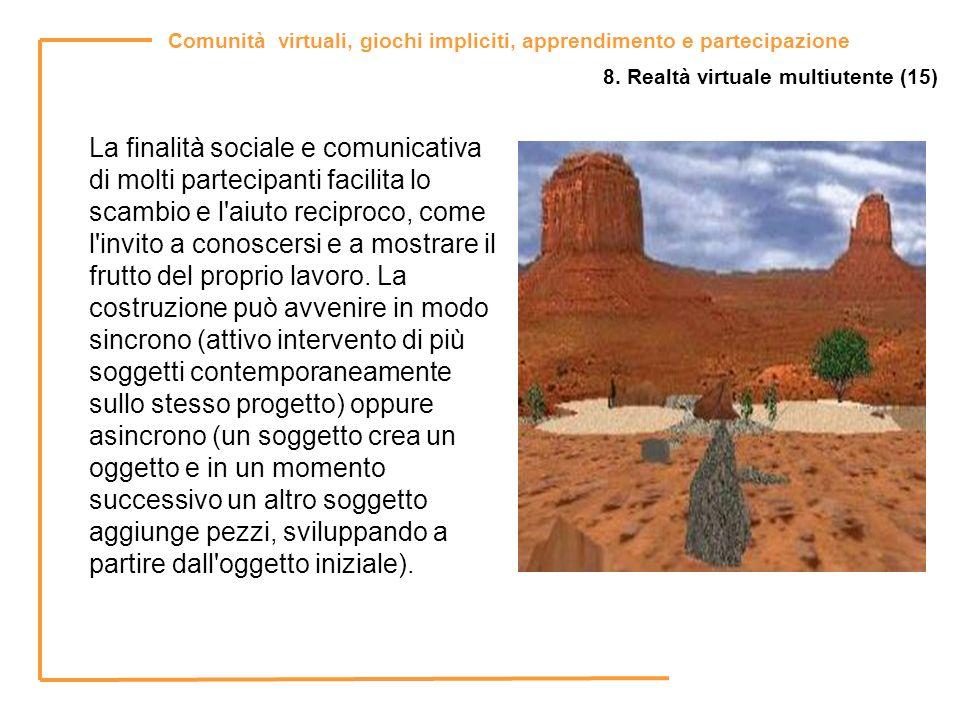 Comunità virtuali, giochi impliciti, apprendimento e partecipazione 8. Realtà virtuale multiutente (15) La finalità sociale e comunicativa di molti pa